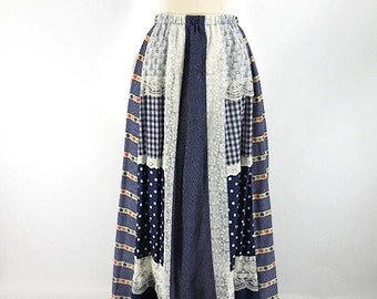 70s Navy and Lace Patchwork Maxi Skirt - sm, med
