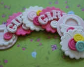 24-Piece Whimsical Girl Baby Shower Button Fondant Toppers - Perfect for Cookies, Cupcakes and Other Edible Treats