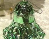Ornate Metallic Bell Ornament Green 1950's