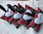 SALE Set of 4 Tartan Arrow Heart ornaments tree decor wreath decorations Valentine's Anniversary Mother's day Christmas white felt red green