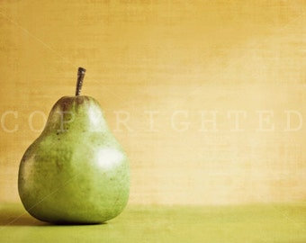 vintage inspired pear print with beige and green accent color print