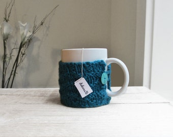 Blue Coffee Cozy, Hand Knit Cozy, Wool Coffee Sleeve, Cup Cozy, Reusable Coffee Mug Sleeve, Gift Under 15, Teal Blue, Stocking Stuffer