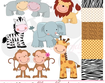 Jungle Cute Animals digital clipart and digital papers set  NO.AN020