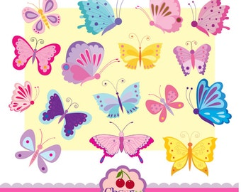 Colorful Butterflies  Digital Clipart Set for -Personal and Commercial Use-paper crafts,card making,scrapbooking,web design