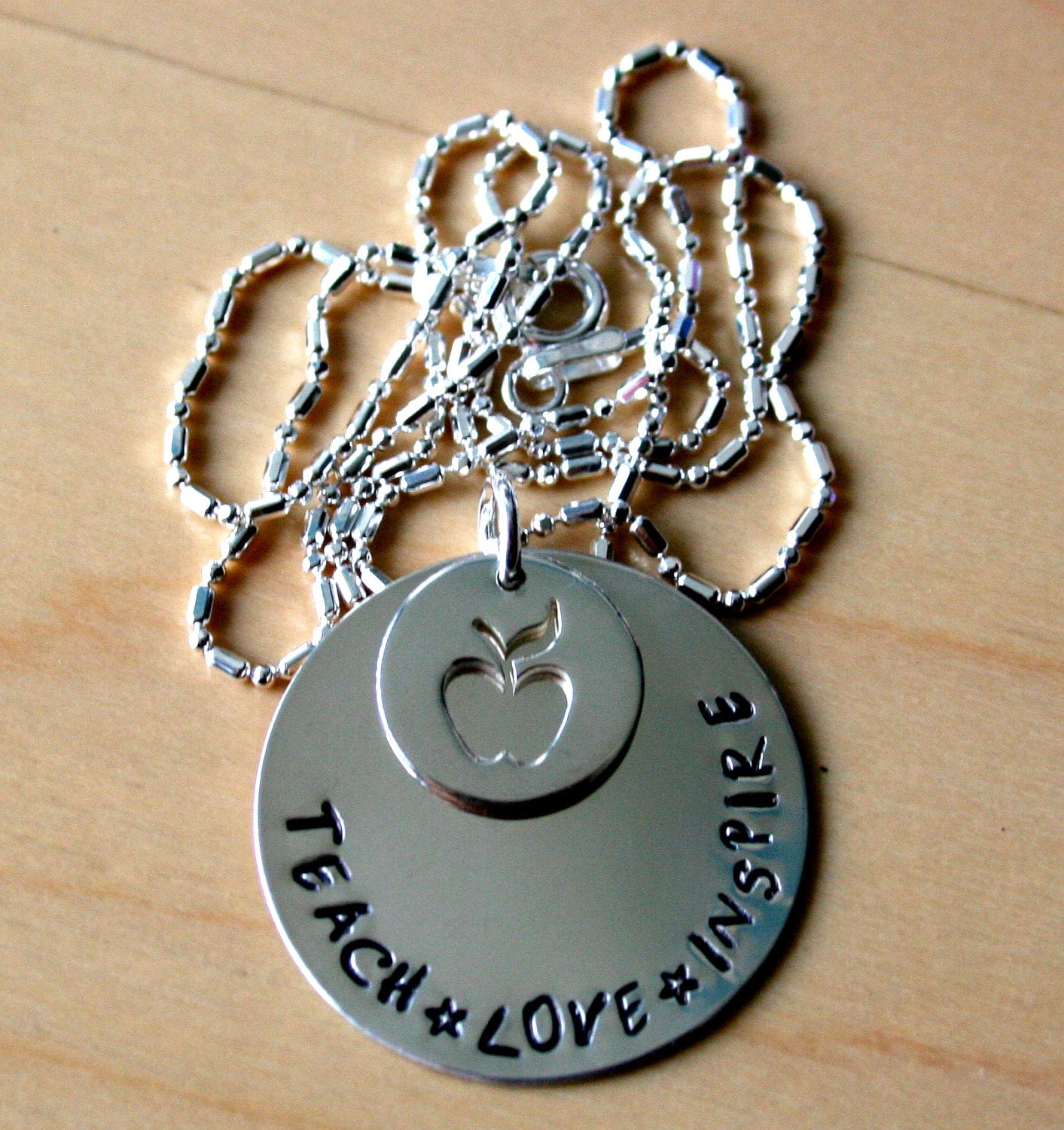 Sterling Silver Hand Stamped Teacher Appreciation Necklace or Key Ring