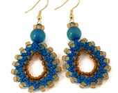 Bead Crochet Teardrop Earrings in Blue and Gold