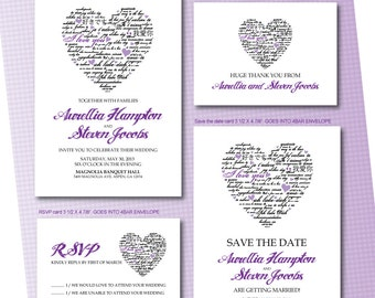 Purple and black Heart Wedding Invitation RSVP Thank you card Save the date DIY Printable - Customized