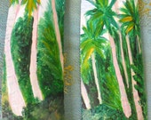 2 Original Paintings of Tropical beach Scene- Beach House- Wall Decor-Home Decor