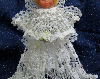 Vintage 1970's Handmade Crochet Angel Tree Topper-One Of A Kind