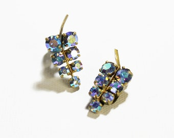 1940s earrings amethyst violet purple Swarovski rhinestone grape cluster brass clip on set west germany