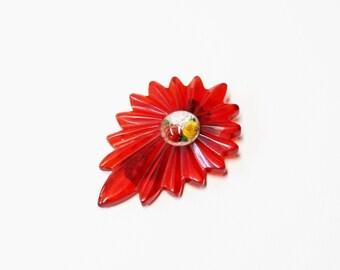 1930s bakelite dress clip cherry red carved prystal flowers under glass intaglio rare
