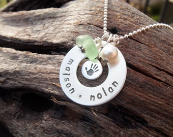 Sea glass jewelry,  Personalized Mothers necklace with seafoam green sea glass, handprint and pearl