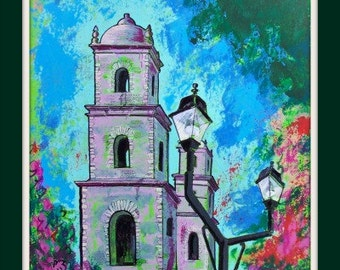"""Original painting of Mexican old Church in Mexican town Merida one of a kind art wall decor on paper 25 1/2""""x19 3/4"""""""