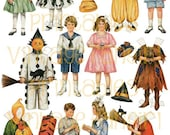 Vintage Halloween Old Fashioned Betty Bonnet Paper Dolls from 1917 Digital Download
