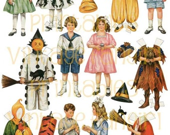 vintage halloween old fashioned betty bonnet paper dolls from 1917 digital download - Old Fashion Halloween