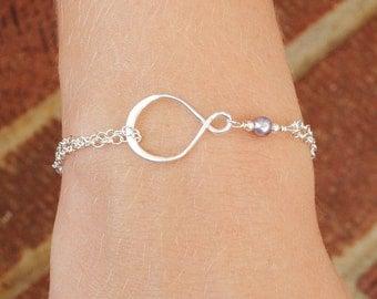 Lavender Mauve Pearl Infinity Bracelet - Sterling Silver Infinity Bracelet - Eternity Best Friend Friendship - Wedding Jewelry