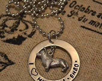 I Love My Corgi Personalized Handstamped Necklace