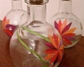 Small Glass Vase Trio, Magazine Paper Decoupage Collages, Magenta, Orange, Red