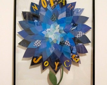 Personalized Paper Flower Collage, 11x14 Custom Design