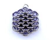 Chain Maille Pendant, Lavender Purple Pendant, Mini Dragonscale Necklace, Jump Ring Jewelry