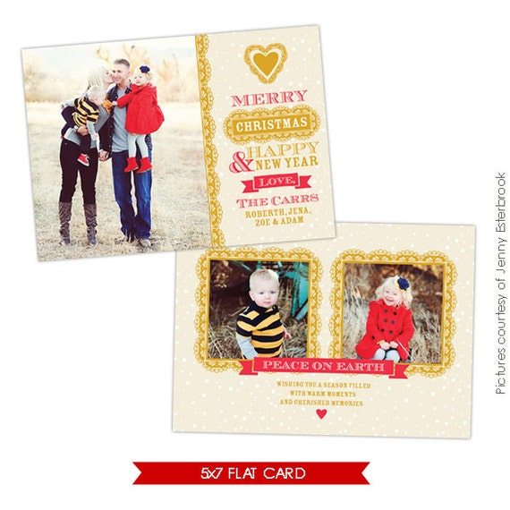 PSD Christmas Card Photoshop Template Chic Style E626