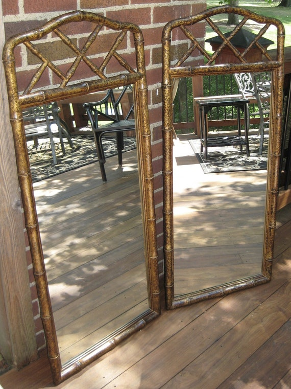Chinese Chippendale Faux Bamboo Decorative Mirrors