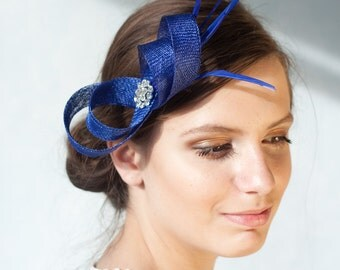 Royal blue fascinator with feathers, rhinestone, bridesmaid fascinator