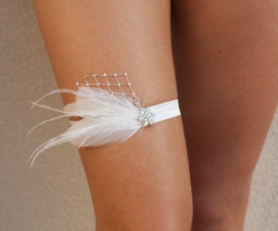 jarretire de marie avec plumes strass et argent voilant jarretire mariage plume blanche - Jarretiere Mariage