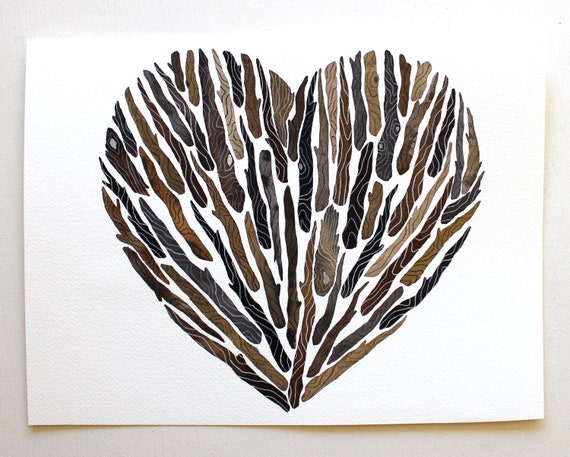 Driftwood Heart - Watercolor Art Painting - Archival Print