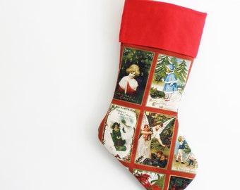 christmas stocking, vintage holiday card style, large stocking, religious, washable - Christmas in July