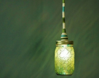 Mason Jar Lantern Pendant Light, Aqua Glass with Peridot Accents and Matching Wrapped Cord