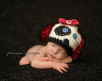 Baby Puppy Hat  - Dalmatian Hat- Photography Prop - Newborn Girl - Newborn Boy
