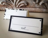 Escort Place Table Name Card Pearl Paper, Swarovski Crystals - for Wedding or any other party or shower