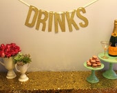 "Gold Glitter ""DRINKS"" Banner Garland perfect for the bar at your wedding or party"