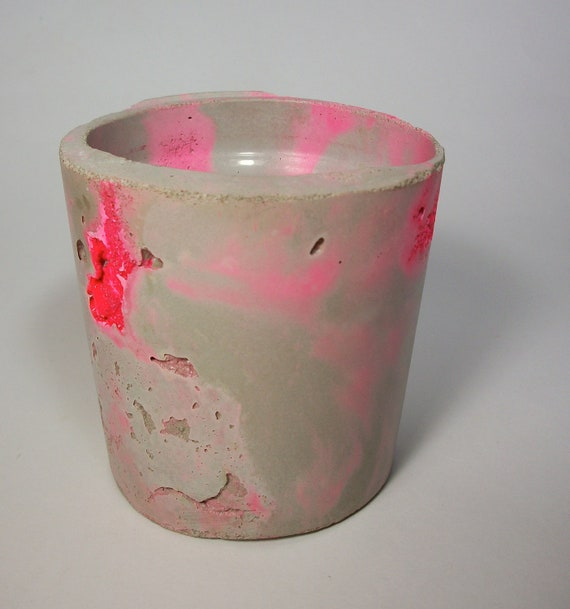 Handmade Modern Marbled Neon Pink Concrete Planter/ Container
