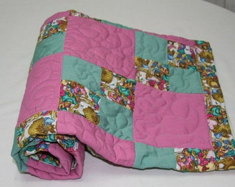 """Patchwork Pink and Green Quilt - 35"""" by 37"""""""