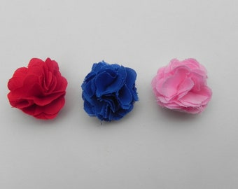 3  One inch Lapel flowers    Red, Blue and  Pink Fabric  lapel flowers. mens