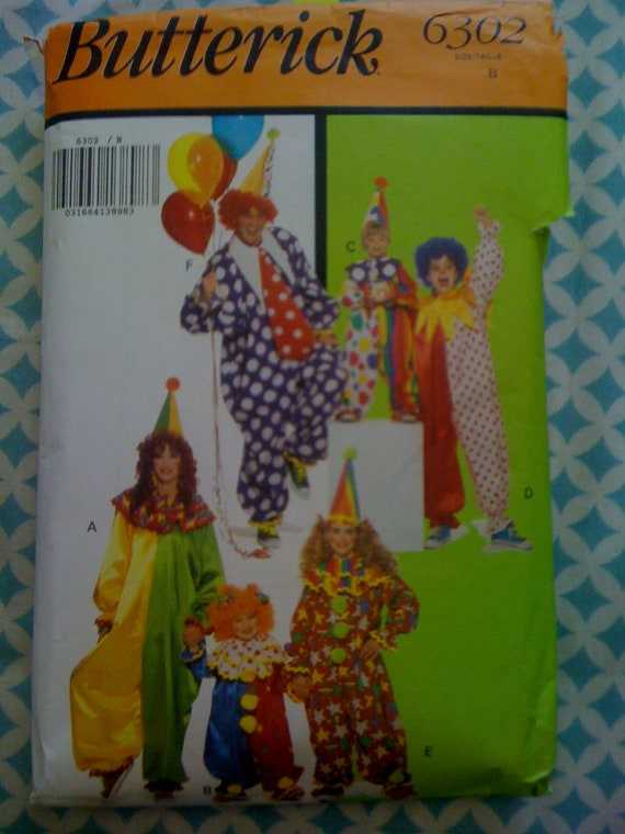 Butterick 80s Sewing Pattern 6302 Adult Clown Costume Size S, M, L