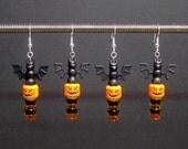 Halloween earrings, black bat, orange jack o'lantern, silver plated ear wires