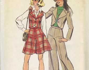 Simplicity Sewing Pattern 70s Wide Leg Pants Mini Skirt Big Lapel Collar Vest Puff Shoulder Jacket Fitted Bodice Uncut FF Bust 28 29