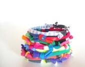 Technicolor Bracelet Stack Upcycled Colorful Fiber Neon Knotty Bits Bracelets Eco Friendly Tribal Jewelry