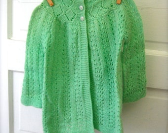 Vintage Soft Mint Button Up Baby Sweater