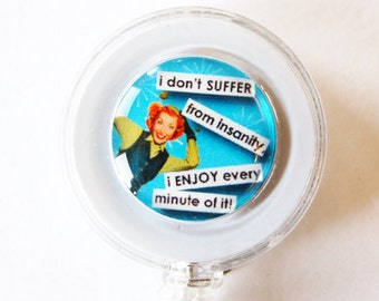 ID Badge Holder, Retractable id, Badge clip, Name Tag, Blue, ID Badge Clip, funny badge holder, humor, insanity (1717)