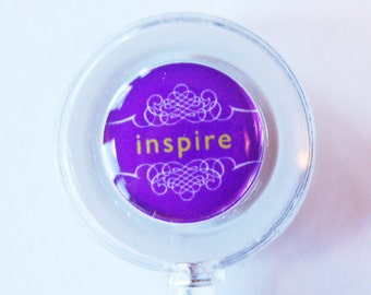 ID Badge Holder, Inspire, Retractable id, Badge clip, Inspiration, purple, stocking stuffer (1833)