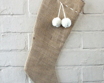 Rustic Burlap Christmas Stocking with Handmade Pom-Poms in Natural Wool