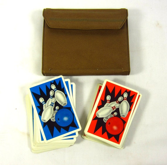 Vintage Playing Cards -  Bowling Theme Set in Wallet