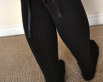Boot Socks : Black Thigh-High with Black Ribbon Laced Into Bows on Back