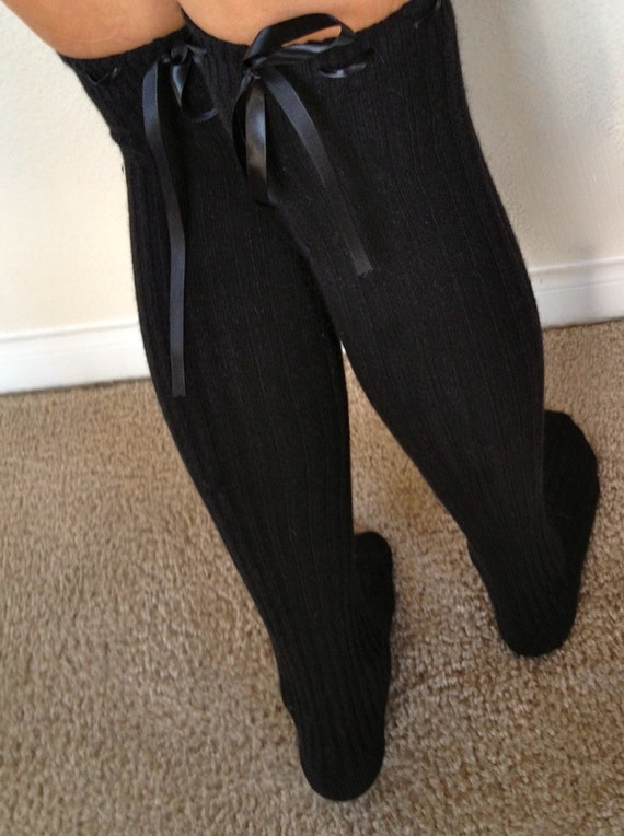 boot socks black thigh high with black ribbon laced into