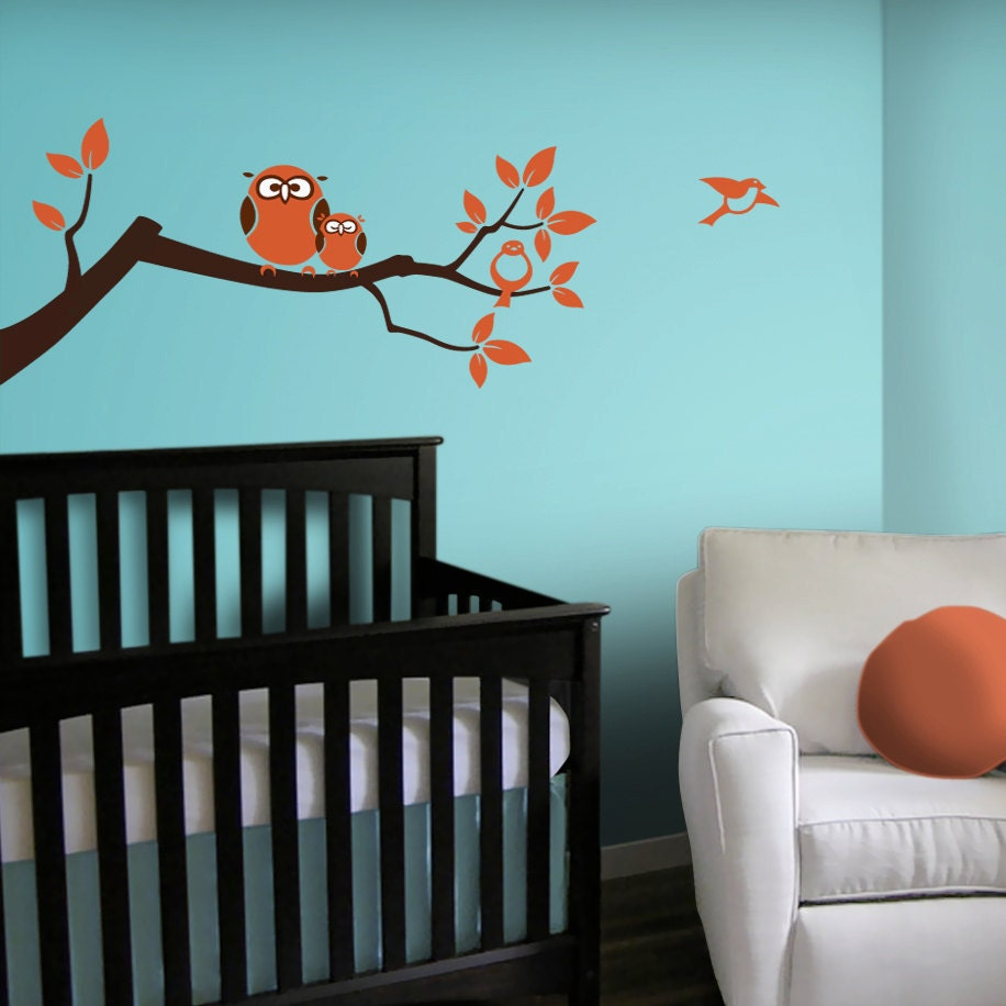 owl tree branch wall decal neutral nursery vinyl wall decals