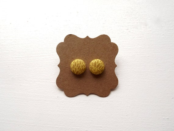 Mustard Yellow, Button Post Earrings, Hypo Allergenic Women's Jewelry